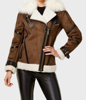 Women's Faux Fur Shearling Cuffs Leather Jacket
