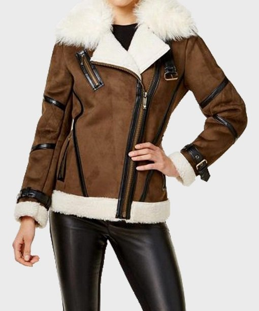 Womens Brown Faux Fur Real Leather Jacket