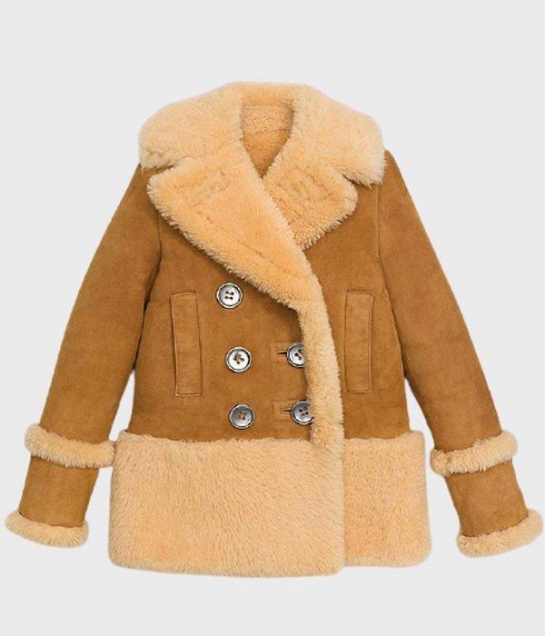 Womens Brown Sheepskin Shearling Pea Coat