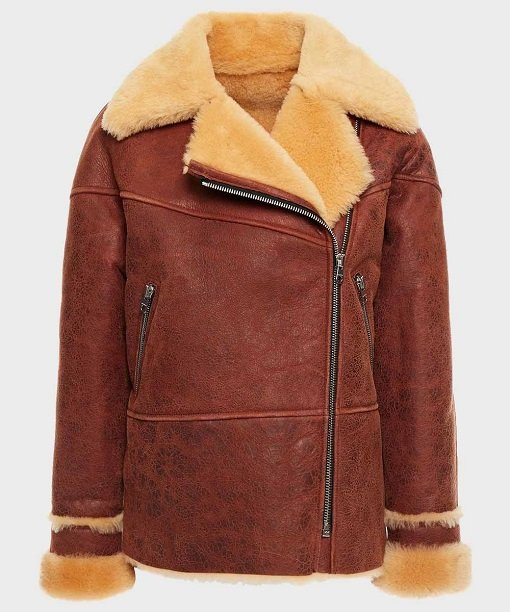 Womens Classic Brown Shearling Leather Jacket