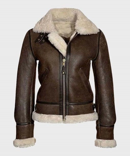 Womens Distressed Brown Shearling Leather Jacket
