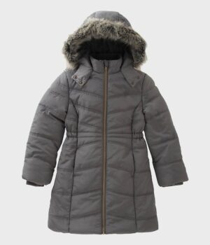 Womens Puffer Hooded Grey Coat
