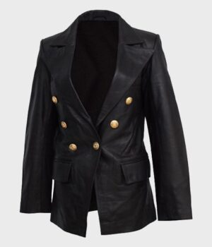 Women's Kate Double-Breasted Black Leather Coat