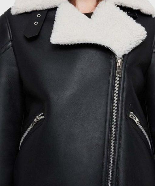 Women's Black Biker Shearling Leather Jacket