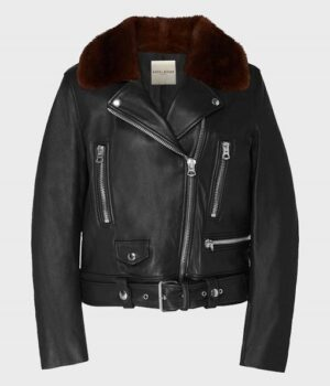 Women's Shearling Collar Motorcycle Leather Jacket
