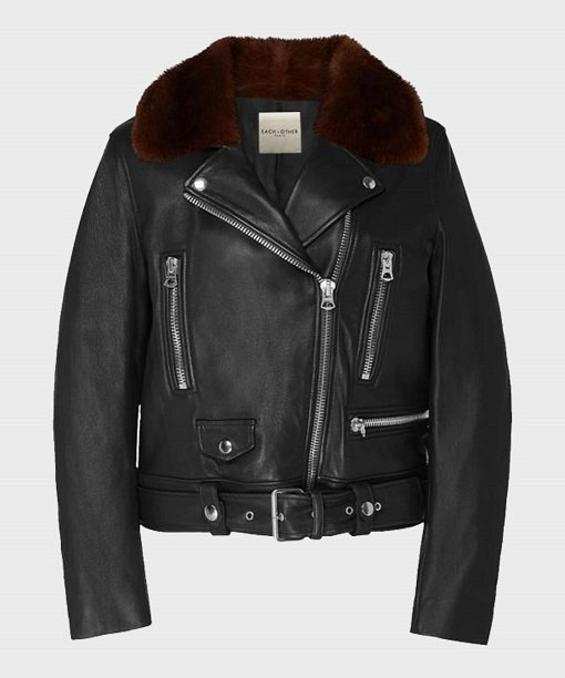 Womens Shearling Black Motorcycle Real Leather Jacket