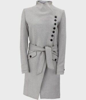 Womens Long Wool Robe Grey Coat