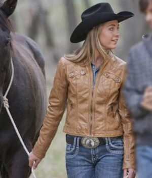 Heartland Amy Fleming Leather Brown Jacket