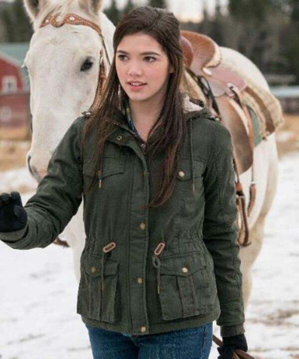 Georgie Heartland TV Series Green Cotton Hooded Jacket