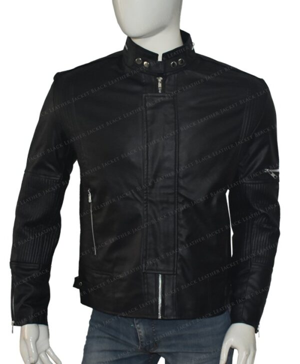 Get Lucky Daft Punk Electroma Black Leather Jacket Front