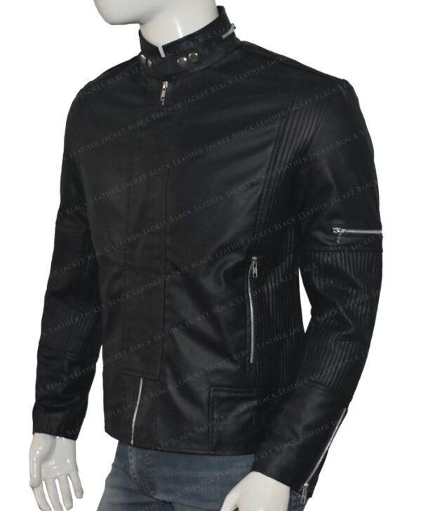 Get Lucky Daft Punk Electroma Black Leather Jacket Left Side