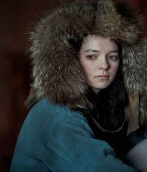 Corduroy Hanna Coat With Fur Blue Hood