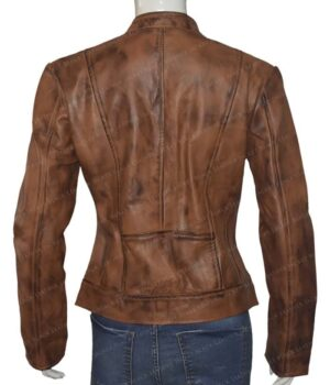 Heartland Amber Marshall Brown Leather Jacket Front