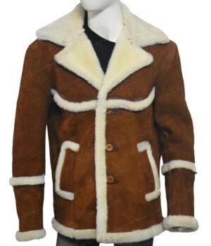 Kingsman The Golden Circle Harry Hart Brown Shearling Jacket
