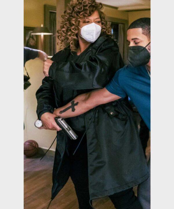 Queen Latifah The Equalizer Satin Black Coat