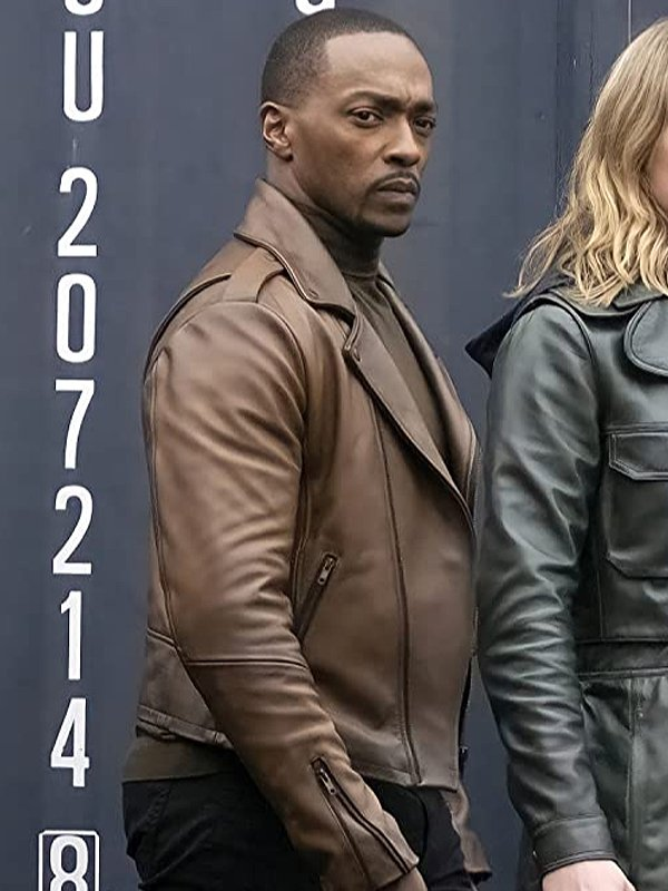 Sam The Falcon and Winter Soldier Zipper Cuffs Brown Jacket Right Side