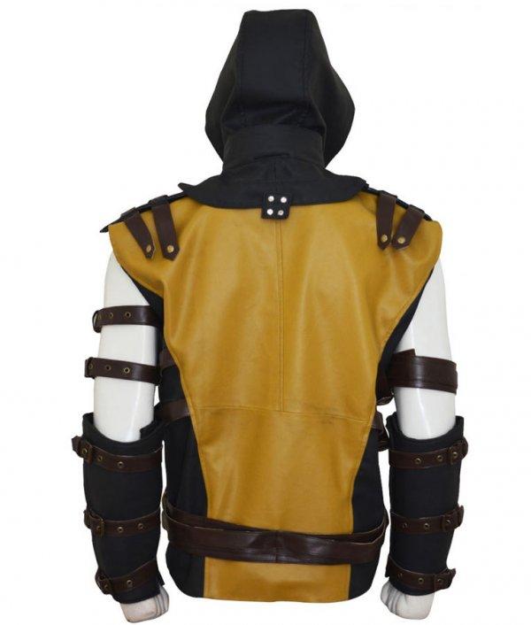 Scorpion Mortal Kombat 10 Leather Gaming Hooded Jacket Back