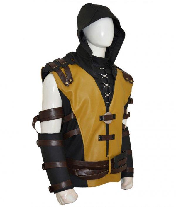 Scorpion Mortal Kombat 10 Leather Gaming Hooded Jacket Side