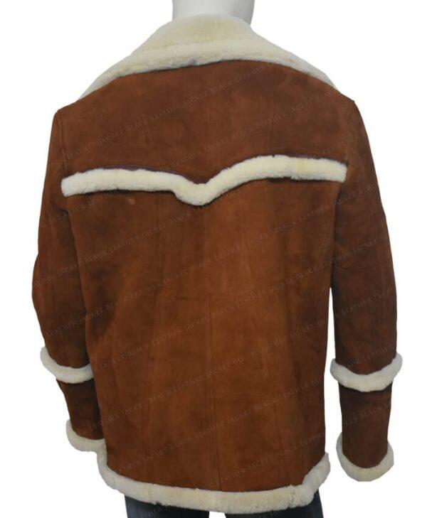 Kingsman The Golden Circle Harry Hart Brown Shearling Jacket Back