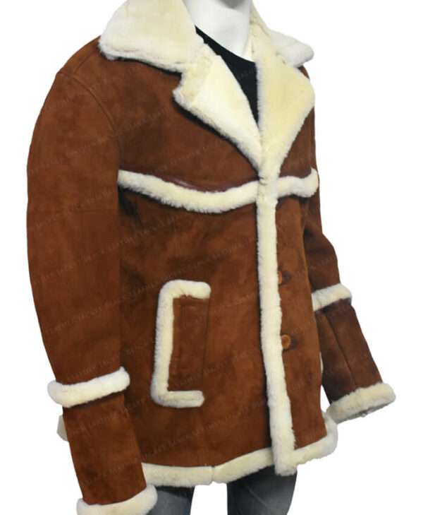 Kingsman The Golden Circle Harry Hart Brown Shearling Jacket Side
