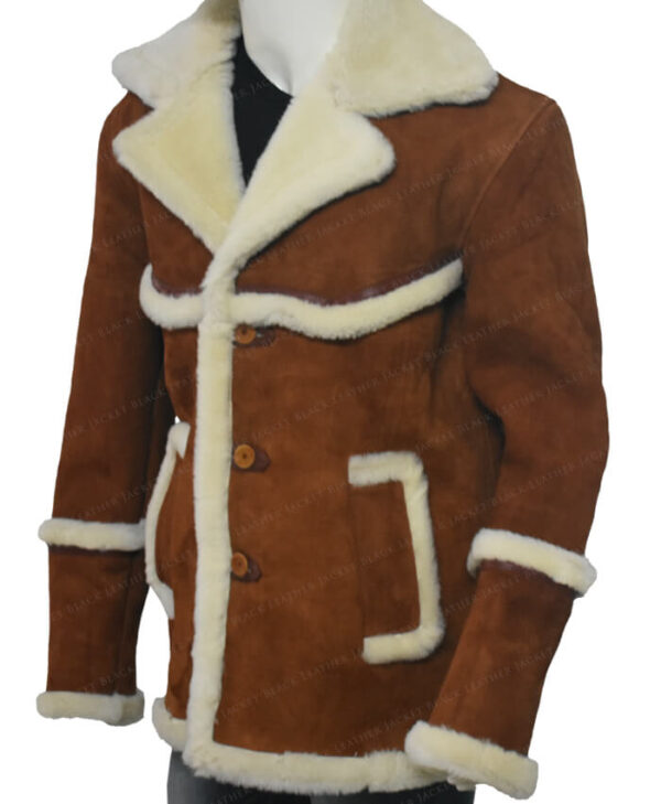 Kingsman The Golden Circle Harry Hart Brown Shearling Jacket Right Side