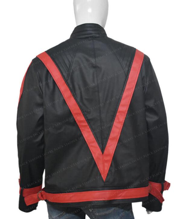 Michel Jackson Thriller Leather Black Jacket Back