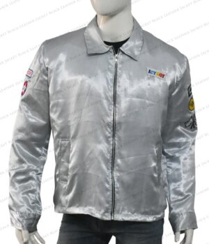 Stuntman Mike Icy Hot Death Proof Satin Silver Jacket Front