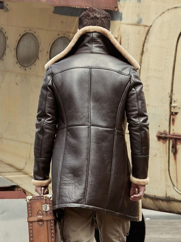 Tom Hardy B-3 Shearling Farrier Brown Leather Long Coat Back
