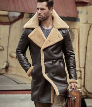 Tom Hardy B-3 Shearling Farrier Brown Leather Long Coat Front