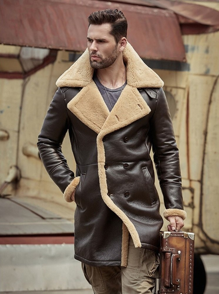 B3 Shearling Tom Hardy Farrier Brown Leather Long Coat