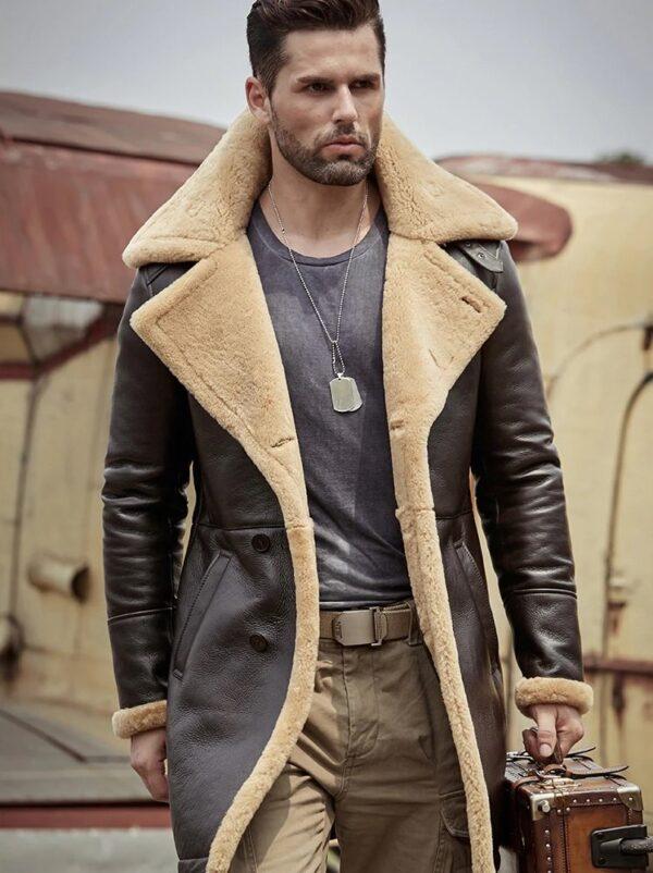 Tom Hardy B-3 Shearling Farrier Brown Leather Long Coat (N)