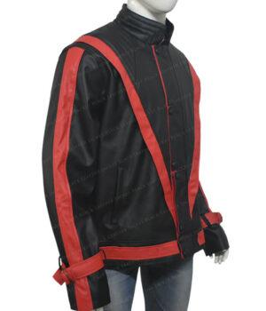 Michel Jackson Thriller Leather Black Jacket Side