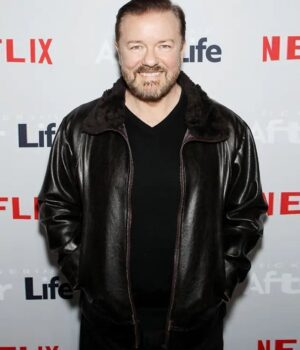 After Life Ricky Gervais Real Leather Jacket