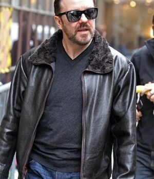 After Life Ricky Gervais Real Leather Jacket front