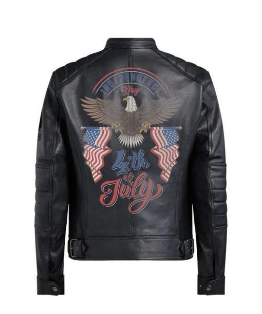 Bald Eagle Black Real Leather Jacket