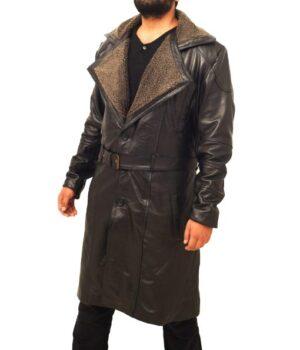 Blade Runner 2049 Officer K Black Fur Collar Coat Side