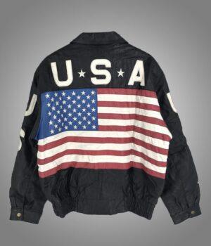 Independence Day Vintage USA Flag Black Jacket