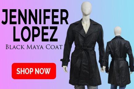 Jennifer Lopez Black Maya Coat