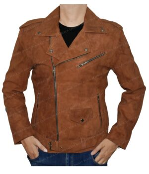Men's Tan Camel Brown Leather Biker Jacket