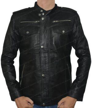 Men's Real Leather Black With Chest Pockets Biker Jacket