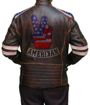 Mens American Flag Brown Leather Jacket