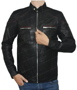 Men's Motorcycle Leather Jacket with Red Strips