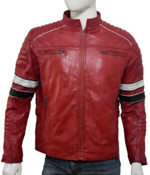 Mens Cafe Racer Black and White Stripe Jacket