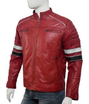 Mens Cafe Racer Black and White Stripe Jacket Left