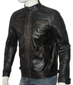 Men's Cafe Racer Real Vintage Leather Jacket Left
