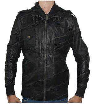 Men's Ferndale Leather Bomber Hooded Jacket