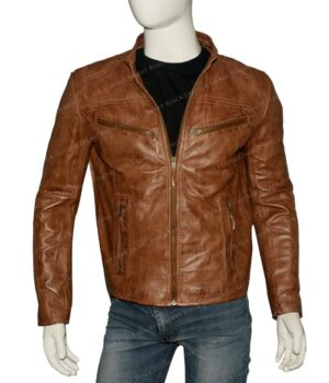 Mens Fitted Tan Brown Real Leather Biker Jacket