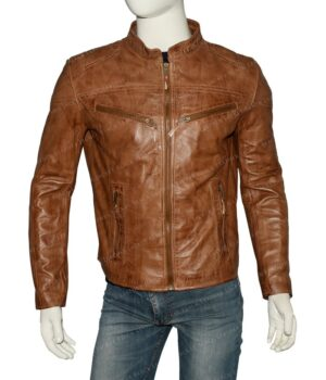 Mens Fitted Tan Brown Real Leather Biker Jacket Front
