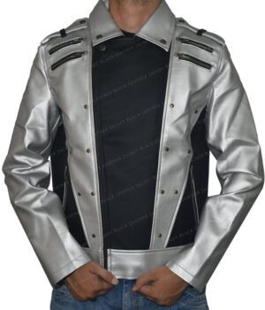 Quicksilver Black and Silver Leather Jacket