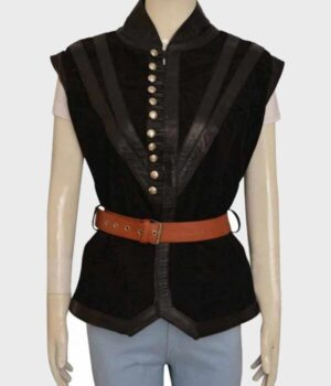 The Witcher 3 Yennefer Black Leather Vest Front